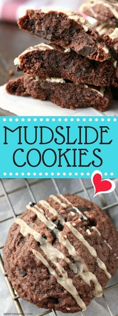 Mudslide Cookies Recipe - easy brownie cookie with Kahlua and Baileys Irish Cream just like a Mudslide Cocktail! #Mudslide #Cookie #Kahlua #SnappyGourmet via @snappygourmet
