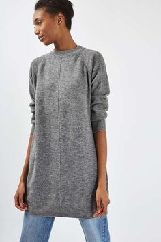 Crafted in a super-soft fabric, this comfy jumper dress comes with blouson sleeves and a crew neck. In a casual grey hue, it's an easy-to-wear piece that can be layered over jeans or worn alone as a dress. #Topshop