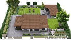 Wizualizacja ogrodu przydomowego w stylu nowoczesnym. Koncepcja 2 | NewGreen projektowanie ogrodów | architektura krajobrazu