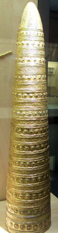The Avanton Gold Cone is a late Bronze Age artefact, belonging to the group of Golden hats, only four of which are known so far. It was found in 1844 in a field near the village of Avanton, about 12 km north of Poitiers, France.