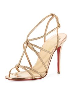 Youpiyou Glittered Red Sole Sandal, Nude by Christian Louboutin at Bergdorf Goodman.