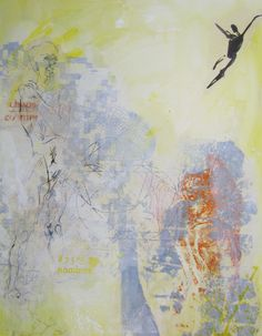 FREEDOM  76x90cm layers of layers with thin paper printed in silkscreen Helena Sellergren
