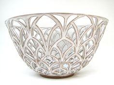 Carved ceramic gothic arches lattice fruit bowl.