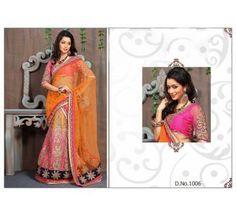 Orange And Pink Shaded Net Embroidered Lehenga Choli