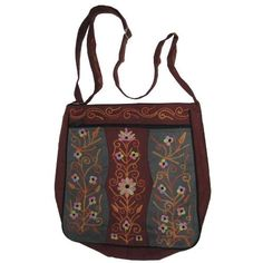 Kashmiri embroidered crossbody handbag - maroon and gray - large