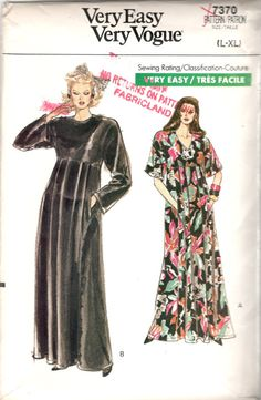 Vogue 7370; Misses Caftan. Caftan, evening length, has dropped shoulders, shoulder pads, loose-fitting, back-button bodice, flared skirt with front pleats and back gathers, side front seams and pockets, no side seams, stitched hems and above elbow or long sleeves.  Very Easy Size Extra Small (6), Small (8-10), Medium (12-14) Bust 30 1/2; 31 1/2 - 32 1/2; 34- 36 Waist 23; 24 - 25; 26 1/2 - 28 Hip 32 1/2; 33 1/2 - 34 1/2; 36 - 38 Copyright 1988 This pattern is uncut and factory folded. The…