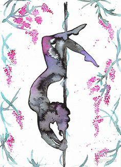 Poler in the jungle, pole dance art illustrated in watercolors by Aurora Gritti. Pole dancer silhouette.
