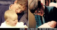 Stephen Hawking and child in the late 1960s (right) and actor Eddie Redmayne as Stephen Hawking in The Theory of Everything movie. See more http://www.historyvshollywood.com/reelfaces/theory-of-everything/