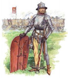 A Polish crossbowman with a Pravise Shield, 15th century.