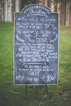 LOVE this idea of writing how the bride and groom met on a chalkboard at the ceremony!