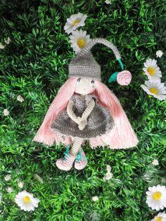 Poupée crochet mini, la petite fée fleur, Lililoops, 12 cm, ma création, crochet trés trés fin : Jeux, jouets par belette-noire