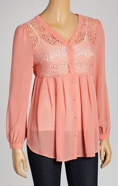 Coral Lace Button-Up Top: this would be super cute with jeans and riding boots!