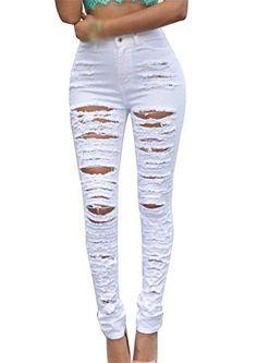Pantalones Vaqueros De Mujer Elásticos Pantalones Slim Fit Agujeros Rotos Ropa  Pantalones De Mezclilla Elástica Colores e6385fa5739