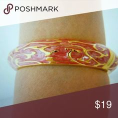 Bangle Statement Bracelet Enamel hinged clamper cuff bangle bracelet pink & gold tone 8.5 inch diameter Jewelry Bracelets