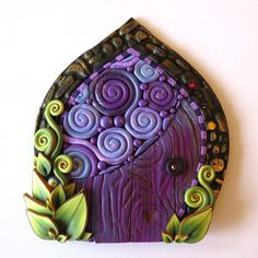 Purple Daydream Fairy Door, Miniature Pixie Portal, Home and Garden Decor, Polymer Clay Door, Tooth Fairy Door