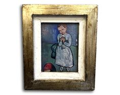 Small Italian Gallery Picasso [ Child & Dove ] Print Vintage French Country Frame