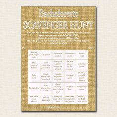 Are you brave enough to take part in this Bachelorette Party Scavenger Hunt? It's an interesting take on the normal scavenger hunt using Bingo