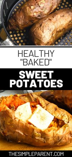 Once you try an air fryer sweet potato Im pretty sure you wont want to make them any other way! Get that oven baked tenderness and taste in less time! Baked Sweet Potato Oven, Sweet Potato Toppings, Loaded Sweet Potato, Cooking Sweet Potatoes, Sweet Potato Recipes, Oven Baked, Healthy Eating Recipes, Healthy Baking, Cooking Recipes