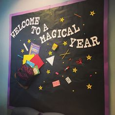 Welcome to a Magical Year! Today was the first day of school here! This bulletin board was made by our über creative secretary to welcome students parents and staff back to another wonderful school year. Welcome Bulletin Boards, Back To School Bulletin Boards, Preschool Welcome Board, Welcome Boards, Kindergarten Bulletin Boards, Classroom Bulletin Boards, Creative Bulletin Boards, First Day School, Beginning Of The School Year