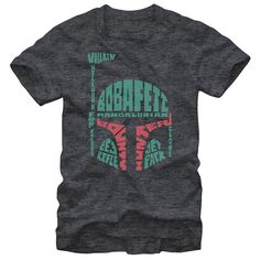 Verbiage Fett - The Star Wars Boba Fett Mandalorian Clone Charcoal Heather T-Shirt always finds what its looking for. This unique Star Wars shirt features Boba Fetts helmet made up of words that describe the most famous bounty hunter in the galaxy.