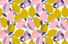 An all over fashion print inspired by lemons.