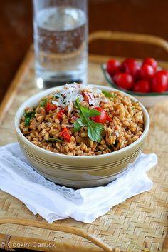 Quick Farro Recipe with Chicken Sausage, Tomatoes & Arugula | cookincanuck.com #farro #recipe #healthy