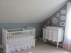 Eleanor's Sweet Nursery: an adorable attic space with soft tones of blue and white...complete with a DaVinci Jenny Lind Crib in white! <3