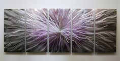 Metal Abstract Painting / Multi Panel Art Purple by statements2000, $300.00