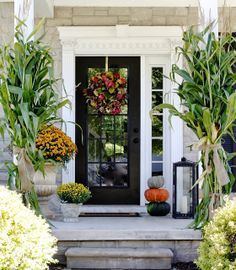 Here are 30 Creepy and Pretty Front Entry Decorating Ideas for Fall that are very easy. Hope you like these Pretty Front Entry Decorating Ideas for Fall. Door Decorations, Fall Front Door, Front Porch Decorating, Fall Decorations Porch, Fall Porch, Black Front Doors, Fall Front Porch, Front Entry Doors, Traditional Porch