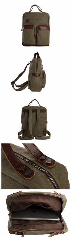 "Vintage Canvas Backpack - Genuine Leather Shoulder Bag - Fit 14"" Laptop"