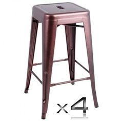 4x Replica Tolix Bar Stool - 66cm - Chocolate Price: $162.95