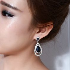 Love Deluxe Earrings-Banquet party Exaggerated design Water drop fashion Rhodium-color Luxury cc earrings for women
