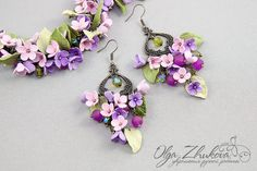 Bracelet and earrings with flowers by polyflowers by Olga Zhukova.