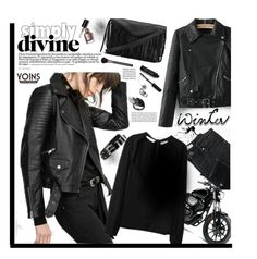 """Simply divine with Yoins.com"" by hamaly ❤ liked on Polyvore featuring MANGO, Bobbi Brown Cosmetics, cool, leatherjacket, ootd, blouses and yoins"