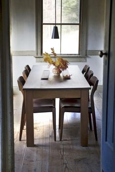 farm table with modern chairs
