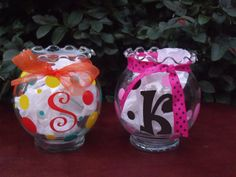 Personalized Polka Dot Candy Dish/Candle Holder by snappydot, $8.00