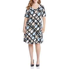 Karen Kane Plus Graphic Print A-Line Dress (7.120 RUB) ❤ liked on Polyvore featuring plus size women's fashion, plus size clothing, plus size dresses, print, a line dress, a line silhouette dress, geometric pattern dress, stained glass dress and karen kane dresses