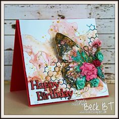 Mixed media card with Shimmerz Paints and Indigoblu stamps