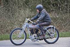 Motorcycle: riding a Harley-Davidson Model J 1915