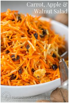 This salad is loaded with healthy ingredients. The lemony dressing and plump raisins make it irresistible. from @natashaskitchen