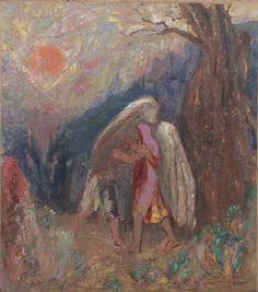 Odilon Redon (1840-1916), Jacob and the Angel, c. 1907. Oil on board.