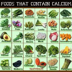 Fresh paleo produce foods containing calcium
