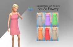 "inspiration-not-found:  ""I liked this child's dress from GTW, but the flower pattern wasn't really to my liking… So here is Not So Flowery, a non-flowery recolor!  Download: Mediafire  Credits:  EA for the mesh  Sims 4 Studio  Feel free to recolour but..."