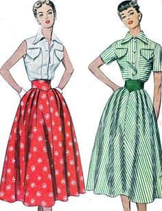"Vintage Sewing Pattern Simplicity 3200 - I LOVE the wide ""v"" waistband sewn into the skirt. I can hardly imagine a more flattering 1950s skirt."