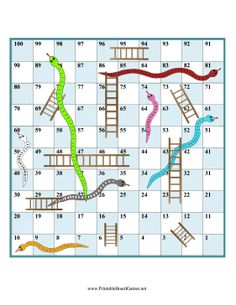 freebie - lots of board games like Printable Snakes and Ladders Game Board: Use a die and any game pieces you like for this printable board game of snakes and ladders, similar to chutes and ladders. Snakes And Ladders Template, Snakes And Ladders Printable, Dice Games, Math Games, Fun Games, Board Game Template, Printable Board Games, Homemade Board Games, Snake Game