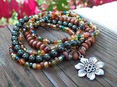 Bohemian Gypsy Stretch Beaded Bracelets with Flower Charm by Angelof2, $26.50