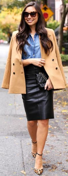 Camel Coat, leather Skirt & Leo Print heels by With Love from Kat.