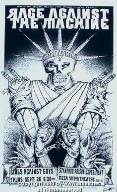 1996 Rage Against the Machine Black/White Variant Poster by Emek