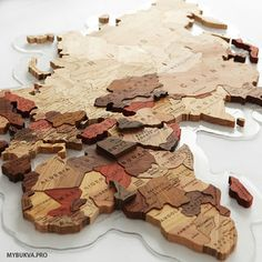 Picture of Wooden World Map.