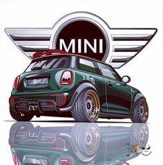 Ideas For Mini Cars Drawing Car Illustration, Illustrations, Mini Cooper Sport, E60 Bmw, Graffiti, Mini Copper, Car Drawings, Automotive Art, Art Graphique